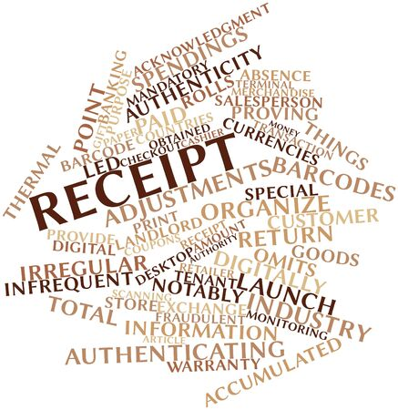 obtained: Abstract word cloud for Receipt with related tags and terms Stock Photo