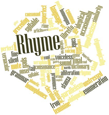 slant: Abstract word cloud for Rhyme with related tags and terms Stock Photo