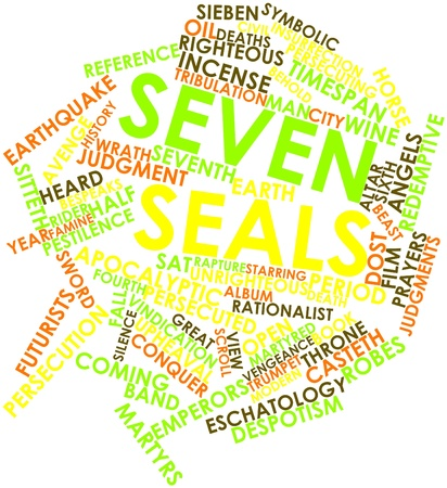slain: Abstract word cloud for Seven seals with related tags and terms
