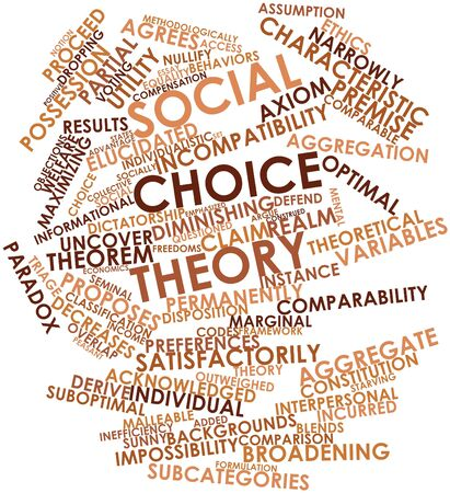 variables: Abstract word cloud for Social choice theory with related tags and terms Stock Photo