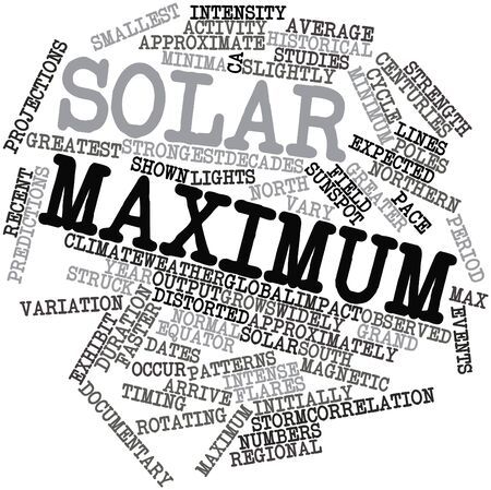 weather terms: Abstract word cloud for Solar maximum with related tags and terms