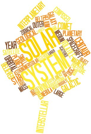 originate: Abstract word cloud for Solar System with related tags and terms Stock Photo