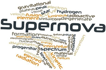 wavelengths: Abstract word cloud for Supernova with related tags and terms Stock Photo