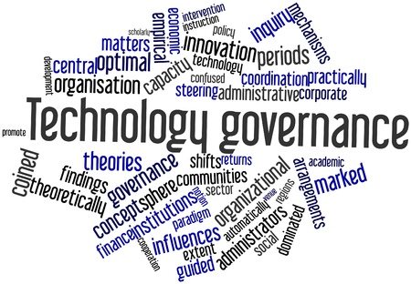 practically: Abstract word cloud for Technology governance with related tags and terms Stock Photo