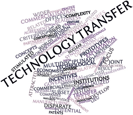 venture: Abstract word cloud for Technology transfer with related tags and terms