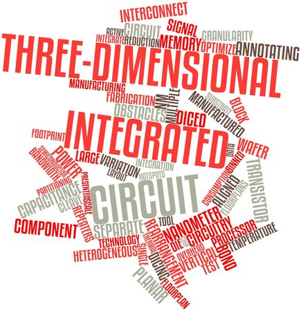 wafer: Abstract word cloud for Three-dimensional integrated circuit with related tags and terms Stock Photo