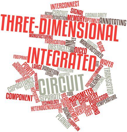 Abstraktes Wort-Wolke für dreidimensionale integrierte Schaltung mit verwandten Tags und Begriffe Standard-Bild - 16502428