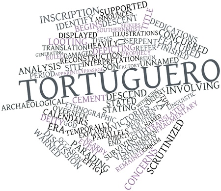 surviving: Abstract word cloud for Tortuguero with related tags and terms Stock Photo