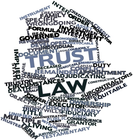to sue: Abstract word cloud for Trust law with related tags and terms Stock Photo