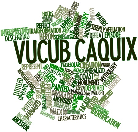 flank: Abstract word cloud for Vucub Caquix with related tags and terms