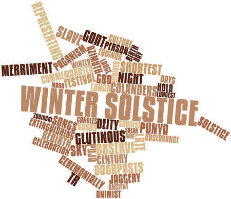solstice: Abstract word cloud for Winter solstice with related tags and terms