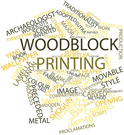 dado: Abstract word cloud for Woodblock printing with related tags and terms Stock Photo