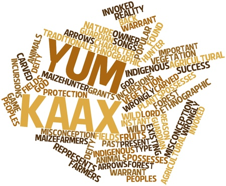 possesses: Abstract word cloud for Yum Kaax with related tags and terms