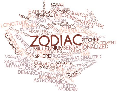 observational: Abstract word cloud for Zodiac with related tags and terms Stock Photo