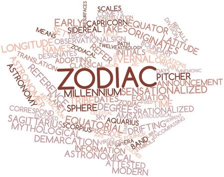 observational: Nube palabra abstracta para Zodiac con las etiquetas y t�rminos relacionados Foto de archivo