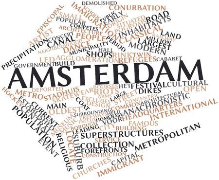 関連するタグと用語とアムステルダムの抽象的な単語雲