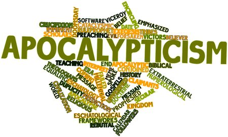 ideological: Abstract word cloud for Apocalypticism with related tags and terms Stock Photo