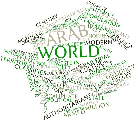 Abstract word cloud for Arab world with related tags and terms