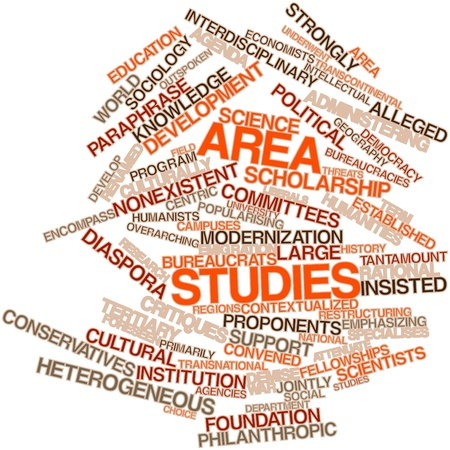 proponents: Abstract word cloud for Area studies with related tags and terms