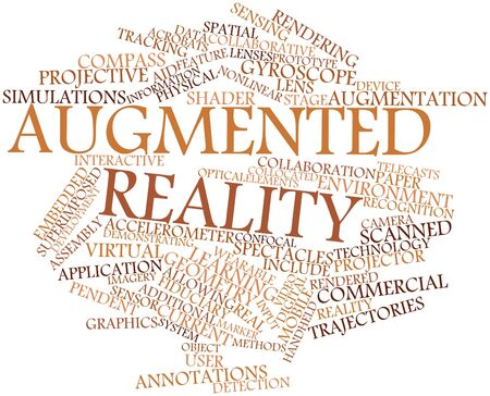 ported: Abstract word cloud for Augmented reality with related tags and terms Stock Photo