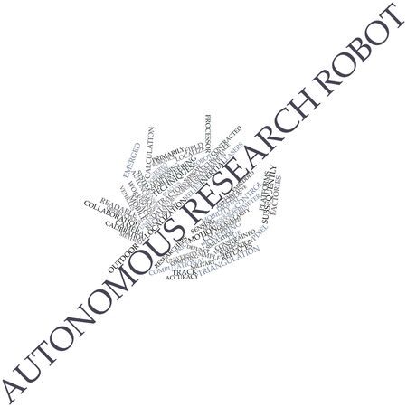 reckoning: Abstract word cloud for Autonomous research robot with related tags and terms Stock Photo