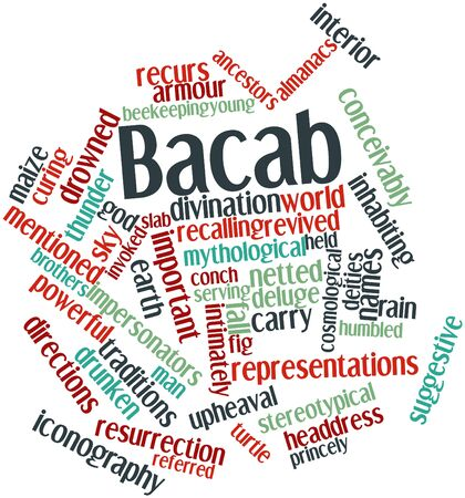 corresponds: Abstract word cloud for Bacab with related tags and terms Stock Photo