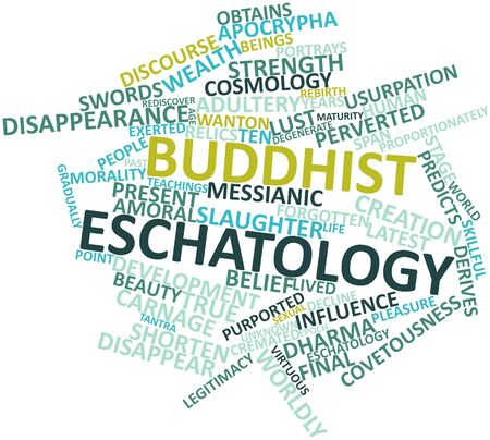 sexual pleasure: Abstract word cloud for Buddhist eschatology with related tags and terms Stock Photo