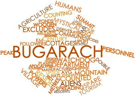 popular belief: Abstract word cloud for Bugarach with related tags and terms Stock Photo