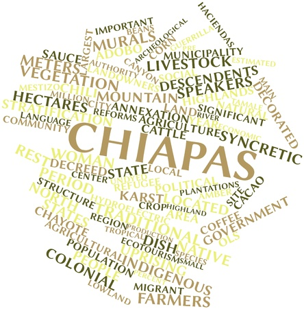 temperate: Abstract word cloud for Chiapas with related tags and terms Stock Photo