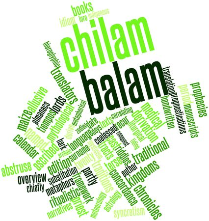 derive: Abstract word cloud for Chilam Balam with related tags and terms