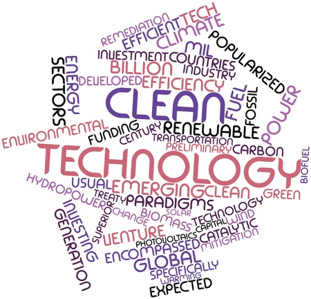 photovoltaics: Abstract word cloud for Clean technology with related tags and terms Stock Photo