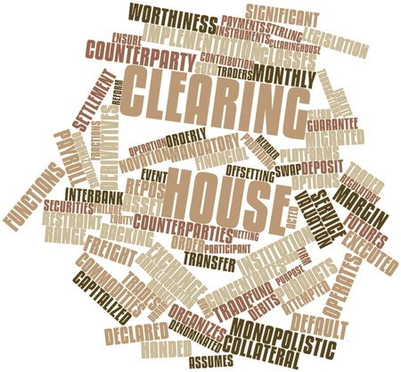 migrated: Abstract word cloud for Clearing house with related tags and terms Stock Photo