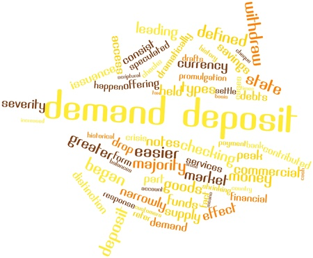 contributed: Abstract word cloud for Demand deposit with related tags and terms