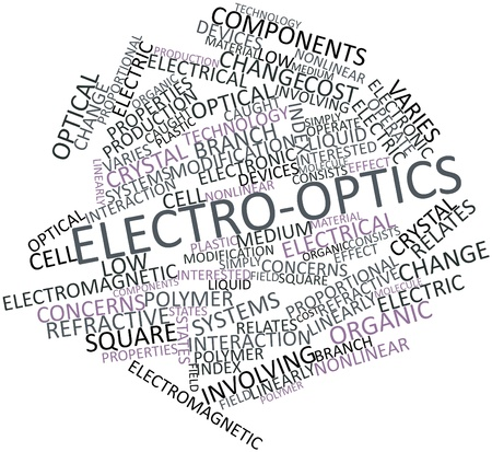 linearly: Abstract word cloud for Electro-optics with related tags and terms Stock Photo