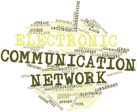 implicit: Abstract word cloud for Electronic communication network with related tags and terms Stock Photo