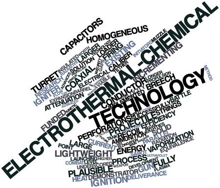 elongacion: Nube palabra abstracta para electrotérmica-químico tecnología con las etiquetas y términos relacionados