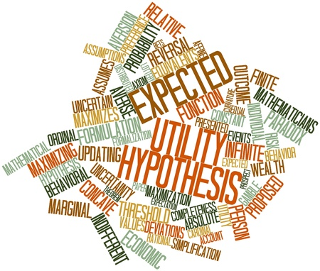 hipótesis: Nube palabra abstracta para hipótesis de la utilidad esperada con etiquetas y términos relacionados Foto de archivo