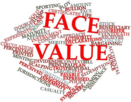 constitutes: Abstract word cloud for Face value with related tags and terms Stock Photo