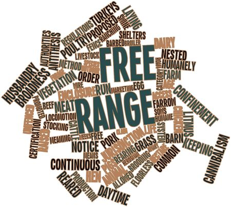 hectare: Abstract word cloud for Free range with related tags and terms Stock Photo