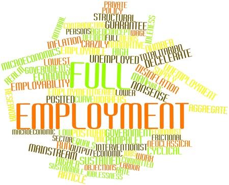 onbepaalde: Abstract woordwolk voor volledige werkgelegenheid met gerelateerde tags en voorwaarden Stockfoto