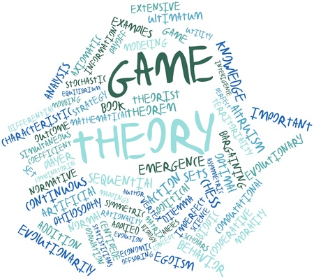 Abstract word cloud for Game theory with related tags and terms Foto de archivo