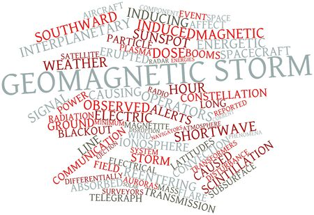 geomagnetic: Abstract word cloud for Geomagnetic storm with related tags and terms Stock Photo