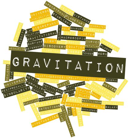 gravitational field: Abstract word cloud for Gravitation with related tags and terms Stock Photo