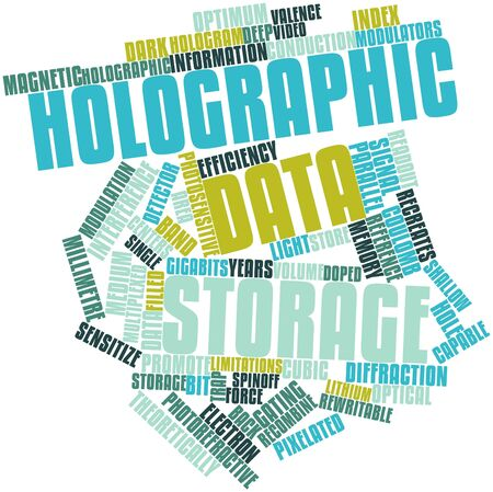 readout: Abstract word cloud for Holographic data storage with related tags and terms Stock Photo