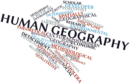 humanistic: Abstract word cloud for Human geography with related tags and terms