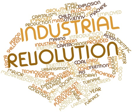 social history: Abstract word cloud for Industrial Revolution with related tags and terms