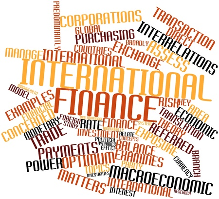 political system: Abstract word cloud for International finance with related tags and terms