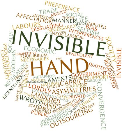 indeterminate: Abstract word cloud for Invisible hand with related tags and terms Stock Photo