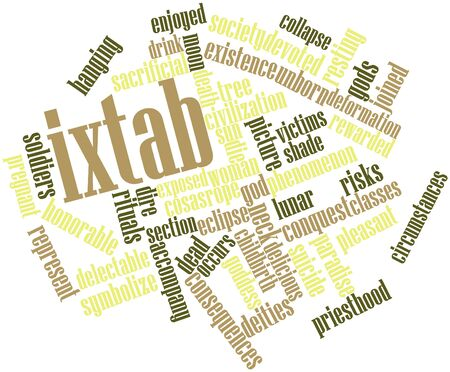 dire: Abstract word cloud for Ixtab with related tags and terms Stock Photo