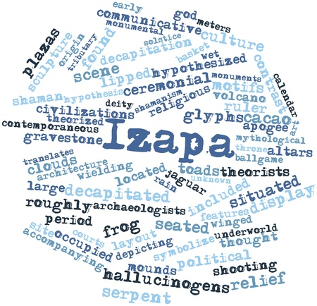 translates: Abstract word cloud for Izapa with related tags and terms Stock Photo